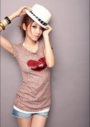 Leoparden T-Shirt in Rosa mit Herz -