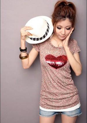 Leoparden T-Shirt in Rosa mit Herz - hier günstig online bestellen