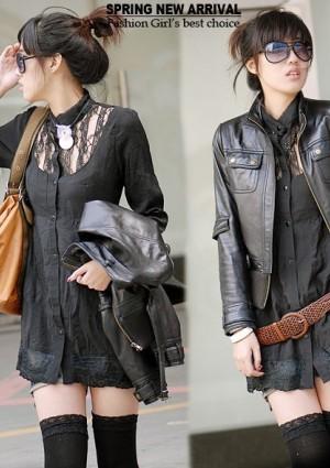 Vintage Long-Bluse in Schwarz 34/36 -