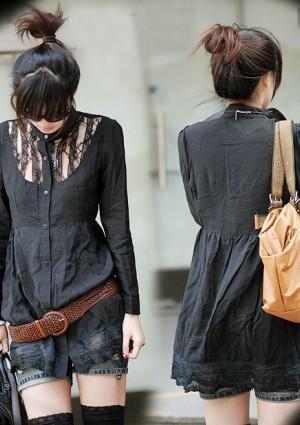 Vintage Long-Bluse in Schwarz 34/36 - hier günstig online bestellen