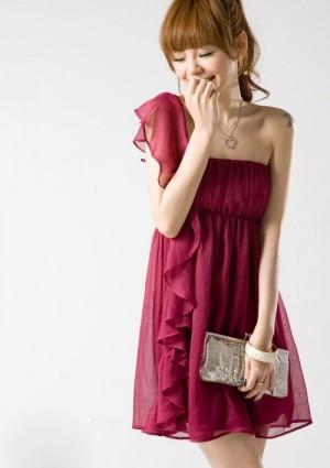Chiffonkleid mit Volant und One-Shoulder-Schnitt in Rot - günstig shoppen bei vipdress.de