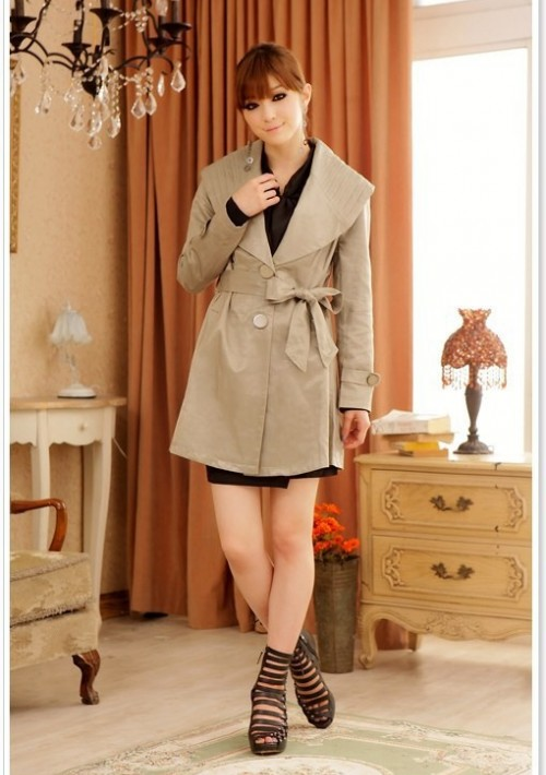 Schicker Trenchcoat in Khaki für Damen - bei VIP Dress online bestellen