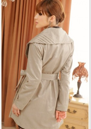 Schicker Trenchcoat in Khaki für Damen - bei VIP Dress günstig kaufen