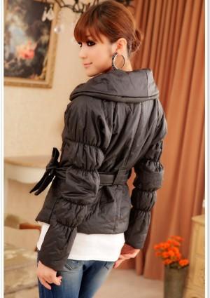 Trendige Damenjacke in Schwarz mit passendem Taillengürtel - günstig kaufen bei vipdress.de