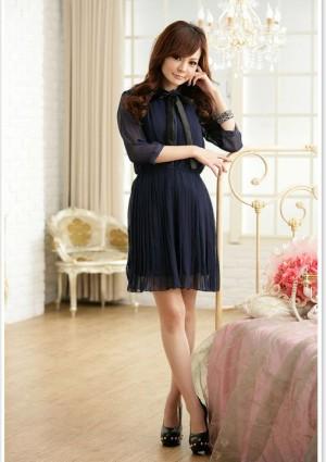 Edles Chiffon Minikleid mit Halsband in Blau - bei VIP Dress günstig kaufen