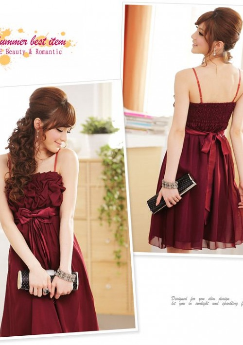 Chiffon Cocktailkleid in edlem Rot - bei VIP Dress online bestellen