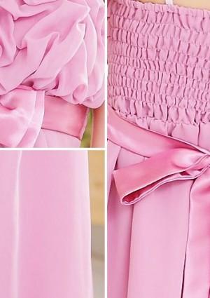 Chiffon Cocktailkleid mit Schleifen in Rosa - bei VIP Dress online bestellen