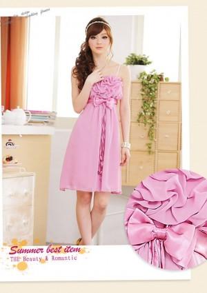 Chiffon Cocktailkleid mit Schleifen in Rosa - bei vipdress.de günstig shoppen