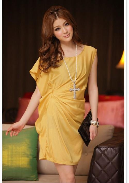 Vintage Partykleid in Gelb mit kurzen Ärmeln - günstig bei VIP Dress