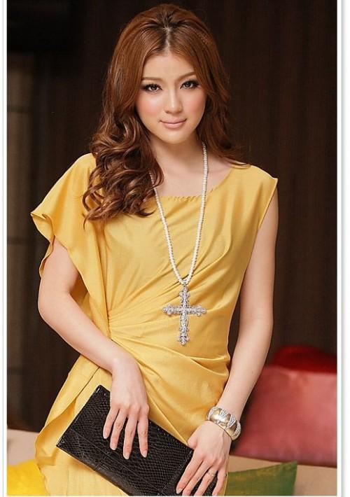 Vintage Partykleid in Gelb mit kurzen Ärmeln - bei vipdress.de günstig shoppen