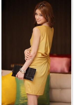 Vintage Partykleid in Gelb mit kurzen Ärmeln - bei VIP Dress günstig kaufen