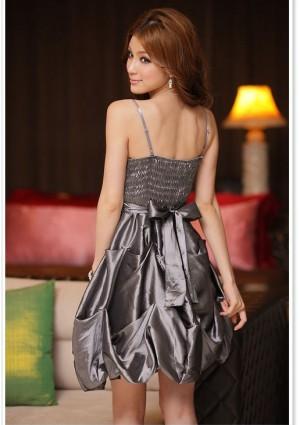 Silber Ballkleid im Ballon-Look und mit Taillenband - online bestellen bei vipdress.de