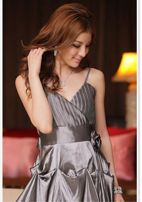 Silber Ballkleid im Ballon-Look und mit Taillenband - bei VIP Dress günstig kaufen