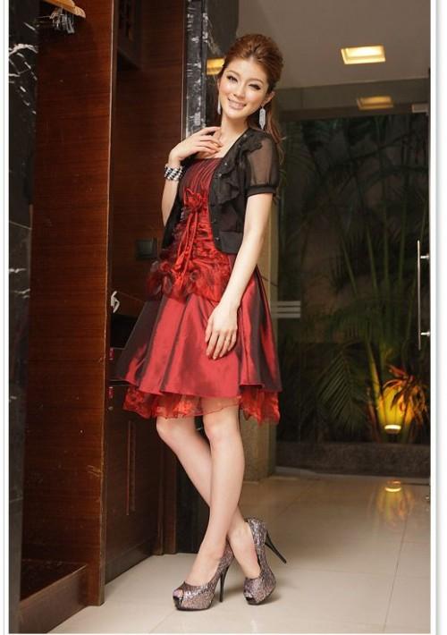 Bolero mit Spitzen- und Perlenzier in Schwarz - bei VIP Dress online bestellen