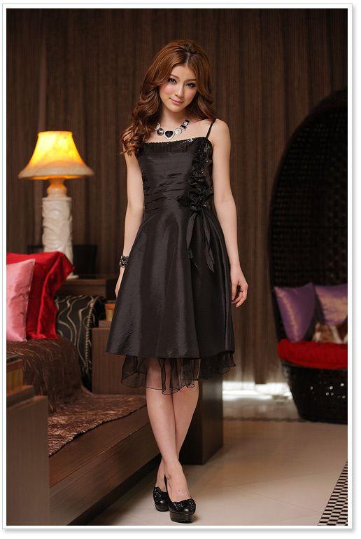 Kurzes, schwarzes Abendkleid mit Pailletten online kaufen ❤