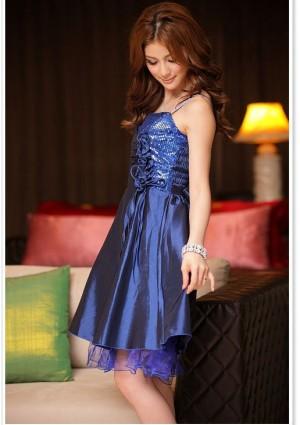 Elegantes Abendkleid in Blau mit kurzem Schnitt - bei VIP Dress günstig kaufen