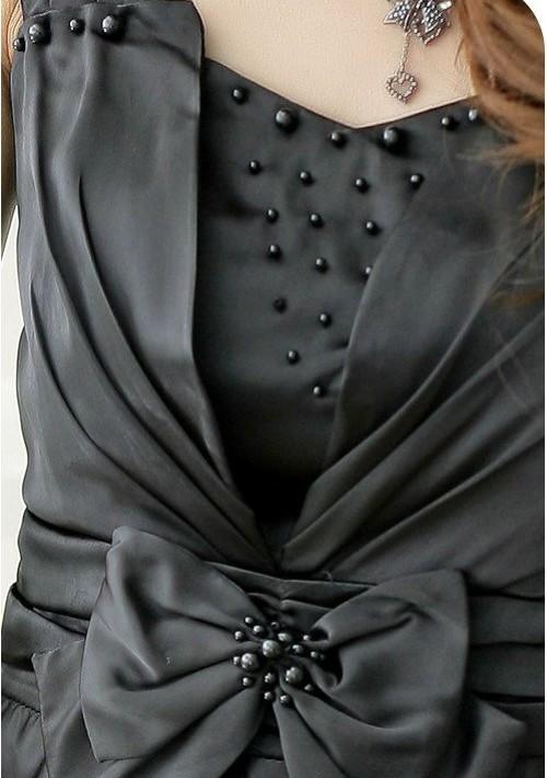 Kurzes Ballkleid in Schwarz mit Taillenschleife - günstig kaufen bei vipdress.de