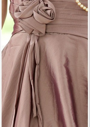 Cocktailkleid in Braun mit Dekoblüte und Ballonrock - bei VIP Dress günstig kaufen