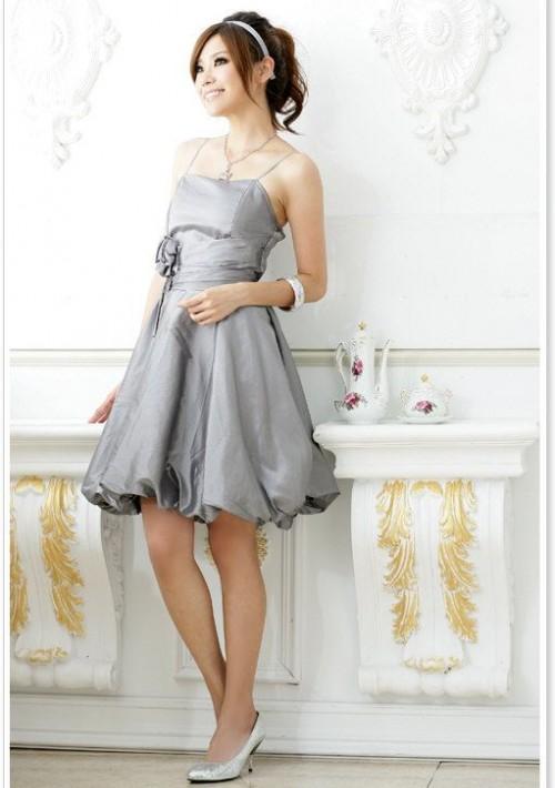 Abendkleid in Grau mit Ballonrock und Blütenapplikation - günstig kaufen bei vipdress.de