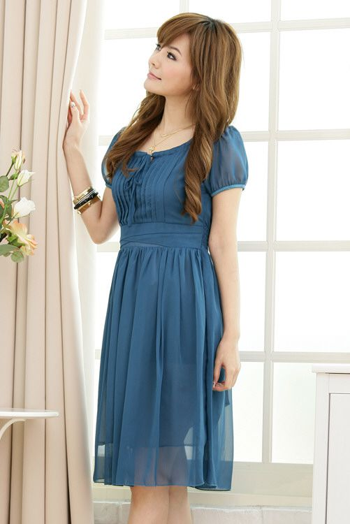 Cocktailkleid in Blau mit Vintage-Look online kaufen