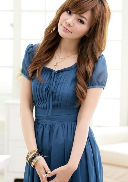 Chiffon-Cocktailkleid in Blau mit Vintage-Look - bei VIP Dress online bestellen
