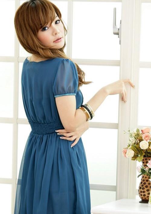 Chiffon-Cocktailkleid in Blau mit Vintage-Look - bei VIP Dress günstig kaufen