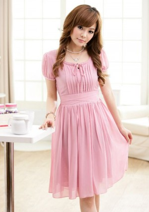 Chiffonkleid im Vintage-Stil in Rosa - bei VIP Dress günstig kaufen