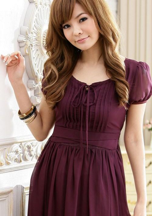 Vintage Chiffonkleid in trendigem Lila - bei VIP Dress günstig kaufen