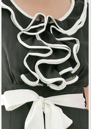 Cocktailkleid mit Rüschen und Lagenrock in Schwarz - günstig bei VIP Dress