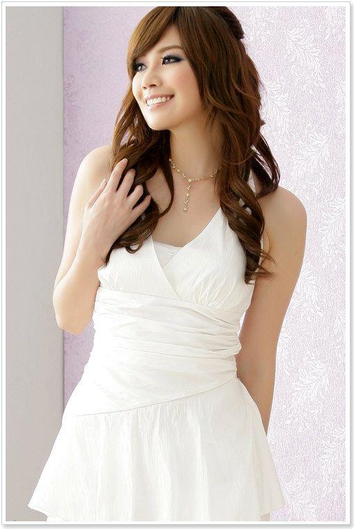 Abtanzballkleid mit Raffungen in Weiß