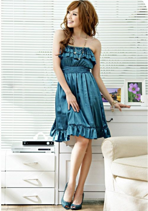 Elegantes Bandeaukleid in Blau - bei VIP Dress online bestellen