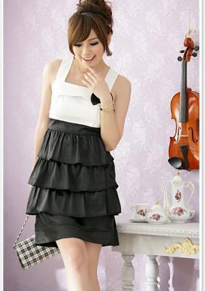 Satin Abendkleid in Schwarz mit Strasssteinen und Stufenlook - bei VIP Dress online bestellen