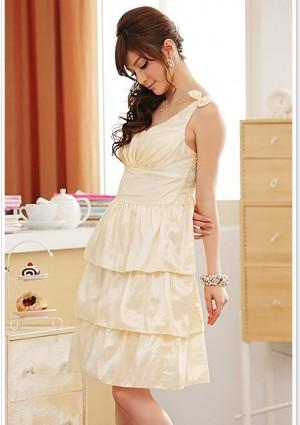 Satin Abendkleid im Stufenlook in Beige - bei VIP Dress günstig kaufen