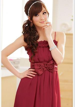 Chiffon Abendkleid in Rot mit Rüschen und Schleife - hier günstig online bestellen