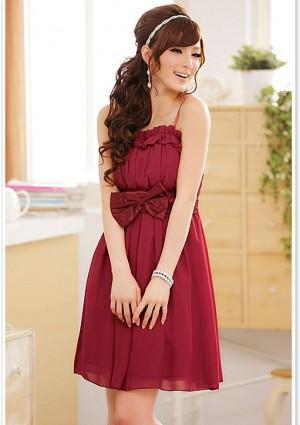 Chiffon Abendkleid in Rot mit Rüschen und Schleife - günstig shoppen bei vipdress.de