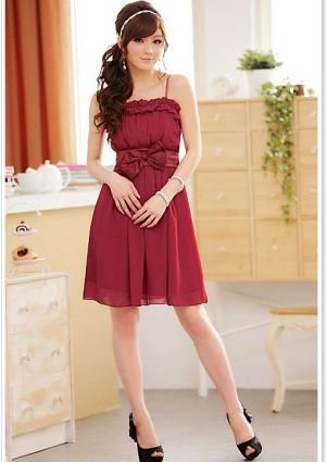 Chiffon Abendkleid in Rot mit Rüschen und Schleife - bei VIP Dress online bestellen
