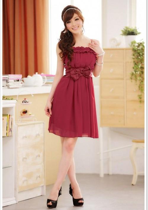 Chiffon Abendkleid in Rot mit Rüschen und Schleife - günstig bei VIP Dress