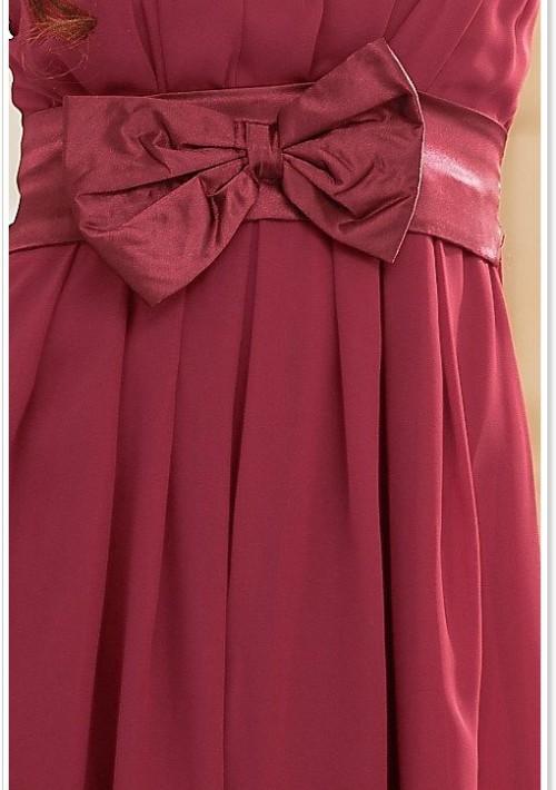 Chiffon Abendkleid in Rot mit Rüschen und Schleife - günstig kaufen bei vipdress.de