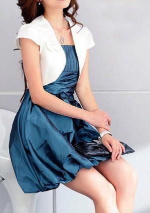 Cocktailkleid in Blau mit Taillenband und Ballon-Optik - bei VIP Dress online bestellen