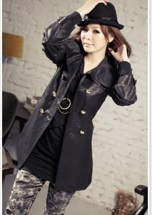 Eleganter Trenchcoat / Damenmantel mit Taillengürtel in Schwarz -