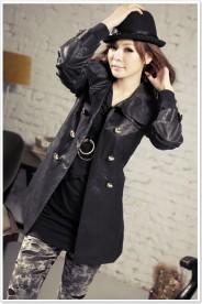 Eleganter Trenchcoat / Damenmantel mit Taillengürtel in Schwarz