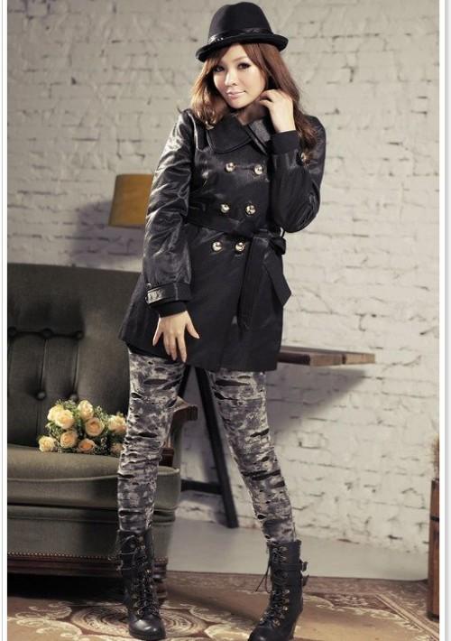 Eleganter Trenchcoat / Damenmantel mit Taillengürtel in Schwarz - günstig bestellen bei VIP Dress