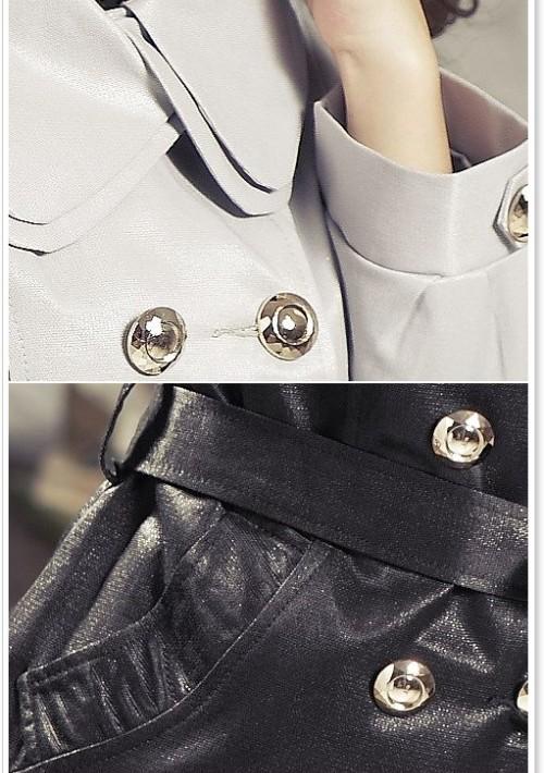 Eleganter Trenchcoat / Damenmantel mit Taillengürtel in Schwarz - hier günstig online bestellen