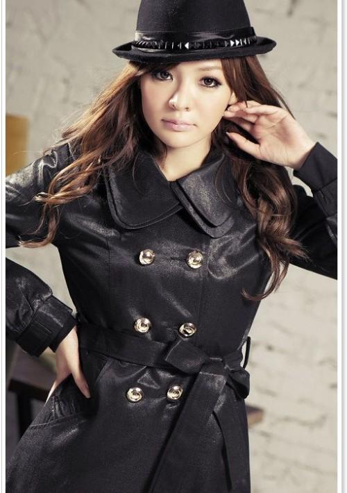 Eleganter Trenchcoat / Damenmantel mit Taillengürtel in Schwarz - günstig kaufen bei vipdress.de