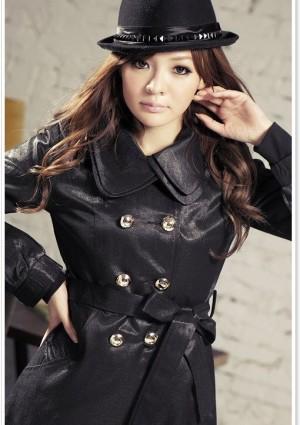 Eleganter Trenchcoat / Damenmantel mit Taillengürtel in Schwarz - bei VIP Dress günstig kaufen