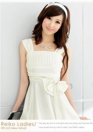 Weißes Cocktail-Kleid mit Ballonrock und Taillenband - bei VIP Dress günstig kaufen