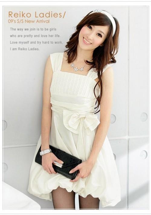 Weißes Cocktail-Kleid mit Ballonrock und Taillenband - online bestellen bei vipdress.de
