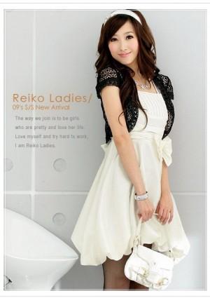 Weißes Cocktail-Kleid mit Ballonrock und Taillenband - bei vipdress.de günstig shoppen