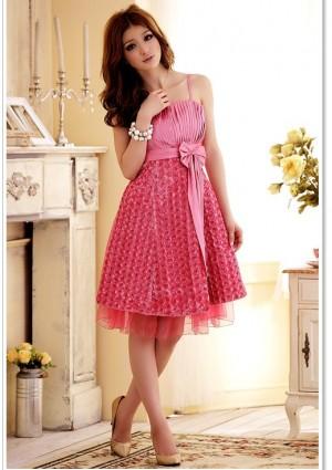Abiballkleid in Pink mit vielen Blüten - hier günstig online bestellen