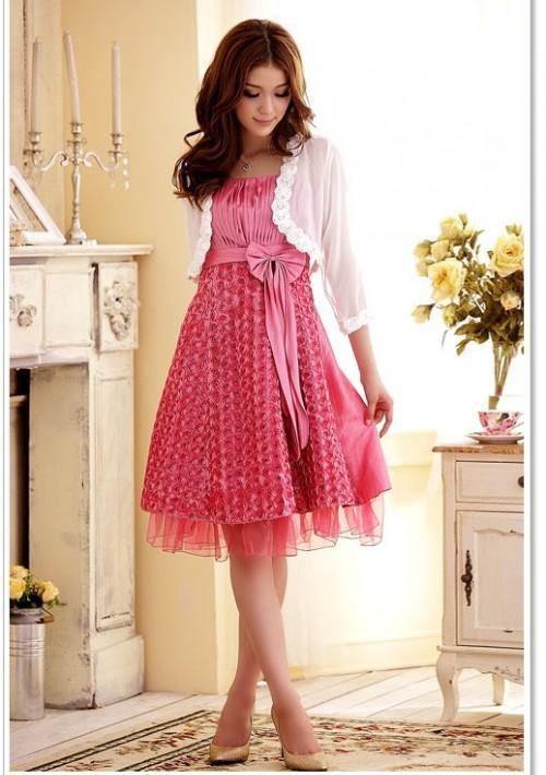 Abiballkleid in Pink mit vielen Blüten - bei VIP Dress günstig kaufen